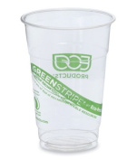 300ml Compostable PLA Cold Beverage Cup - Green Stripe (Clear) (50 Cups) - AB-310-4-101