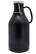The Grizzly - 1890ml Double Wall Stainless Steel Flip Top Beer Growler - Black
