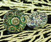Handmade Czech Glass Buttons Gold Flower Green Vitrail Size 10, 22.5mm 1pc