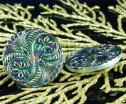 Handmade Czech Glass Buttons Large Green Vitrail Spiral Flower Silver Size 14, 31.5mm 1pc