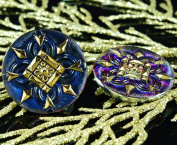 Handmade Czech Glass Buttons Square Flower Large Blue Vitrail Gold Size 12, 27mm 1pc