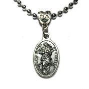 Our Lady Undoer Of Knots Mary Mother Silver Tone Medal Pendant with Chain Necklace Catholic Made in Italy