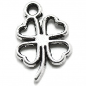 100 Small Clover Charms silver tone four 4 leaf lucky