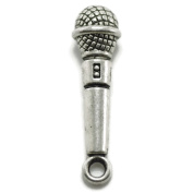 20 Microphone Charms silvertone music
