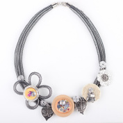 Bonsny Crystal Flower Collar Necklace