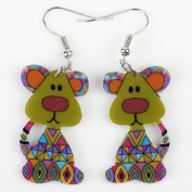 Cute Bonsny Dog Acrylic Earrings-1 Pair Green