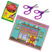 11 Pieces Left Handed Lefty's Activity Book, Pair of Scissors, and 8 Crayons Kid's Set Pink