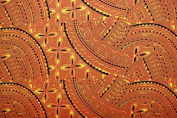 Polynesian glitter tapa print fabric 150cm inches wide sold by the yard