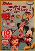 Disney Junior Valentine Card and Lollipop Kit. Jake Neverland Pirates Princess Sofia, Minnie and Mickey Mouse