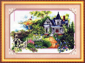 Home Decoration DIY Printed Needlework Sets Counted Cross Stitch Kits Embroidery Kits, The Beautiful Flower House