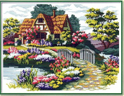 Home Decoration DIY Printed Needlework Sets Counted Cross Stitch Kits Embroidery Kits, Garden Cottage Home