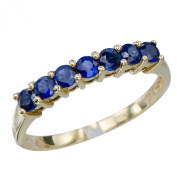 Classic Womens Natural Blue Sapphire Gemstone 18K Yellow Gold Wedding Engagement Promise Jewellery Ring Sizes 7 8 9