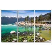 Canvas Print Wall Art Painting For Home Decor,Sandy Lake Tahoe Beach With Crystal Clear Turquoise Water And Some Kayakers Rocky Shore In Nevada California United States.Cloud Snow With Sierra Nevada Mountains Rocks Trees In Northwest Twilight 3 Piece P ..