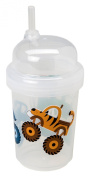 nuSpin Kids 240ml Zoomi Straw Sippy Cup, Monster Trucks Style