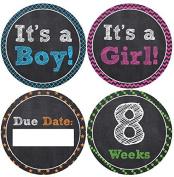 Belly Doodles 36 Pregnancy Stickers Fake Chalkboard 10cm