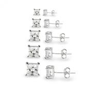 925 Sterling Silver Cz Stud Earrings Set Square Princess Cut 3 4 5 6 7mm Sparkling Cubic Zirconia Basket Set Nickel Free Hypoallergenic
