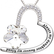 "ALOV Jewellery Sterling Silver ""Always my daughter forever my friend"" Love Heart Pendant Necklace Birthday Christmas Gift For Daughter"