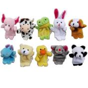 SupplyEU Soft Plush Family Finger Puppet Set Cloth Toy Helper Doll Animal shape 10pcs