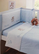 Sleep Baby Blue 3pc Baby Bale Cot Quilt Bumper and Sheet Set.