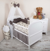Baby Bedclothes Set of 5 with Nest Children's Bedclothes Canopy 100 x 135 cm Retro Brown Chiffon Canopy