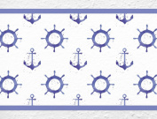 'I-love-Wandtattoo B Anchor and Steering Wheel Pirate 10003 Border for Children's Room Decorative Children, Höhe