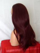 WIG FASHION 60cm Ladies 3/4 Half Fall Wig - Sexy Long Straight Layered Flick Style - PLUM RED #99J - Heat Resistant Synthetic - Clip In Hair Piece Women Extension Y16