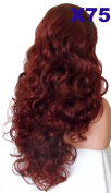 WIG FASHION 70cm Ladies 3/4 Half Fall Wig - Sexy Long Layered Curly Wavy Style - COPPER RED - Heat Resistant Synthetic - Clip In Hair Piece Women Extension X75