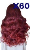 WIG FASHION 70cm Ladies 3/4 Half Fall Wig - Sexy Long Layered Curly Wavy Style - REAL RED BLACK - Heat Resistant Synthetic - Clip In Hair Piece Women Extension X60