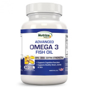 Omega 3 Fish Oil - High Potency - EPA DHA Softgel Capsules - Concentrated, 1-Capsule Dose Contains 1000mg of Omega 3 Fatty Acids - Made in USA in GMP Certified Facility - Odourless - Enteric Coated ...