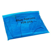 Flat Pack of 100 Disposable Blue Aprons
