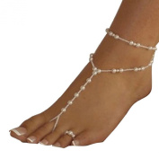 Koly Women's Beach Imitation Pearl Barefoot Sandal Foot Jewellery Bride Anklet Chain