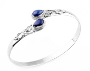 14.63gms,2.90ctw Genuine Lapis & Solid .925 Sterling Silver Cuff Bangle Jewellery