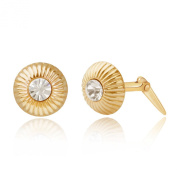 9ct yellow gold geometric circle crystal Andralok stud earrings / Gift box