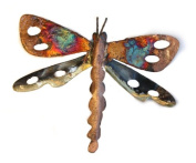 Dragonfly multi-coloured recycled metal wall hanging medium 18 cm long - fair trade and hand made from copper and tin for Tumi in Mexico