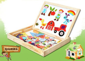 Eshowy Multifunction Double-Faced Drawing Board Wooden Toys For Kids Cartoon Farm Magnetic 3D Jigsaw Puzzle