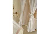 Baby Window Curtains For Baby Room with Decorative Bows 160cm x 160cm - WHITE