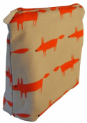 Scion Little Fox Ginger Fabric. Toiletry Bag. Waterproof Lined Wash Bag, Cosmetic Bag