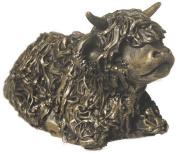 Highland Calf sitting - cold cast bronze sculpture by Veroncia Ballan