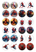 24 Precut Spiderman 40mm circle Edible Wafer Paper Cake Toppers