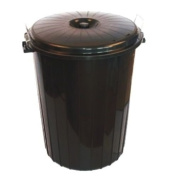 Small 50 Litre BLACK Plastic Bin Ideal for Rubbish / Waste / Paper / Garbage / Trash / Recycling