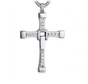 the Fast and Furious Men With 925 Sterling Silver Necklace Set Auger Cross Pendant