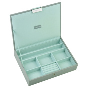 STACKERS 'CLASSIC SIZE' Dove Grey Cross Hatch Lidded STACKER Jewellery Box with Mint Lining
