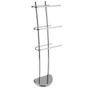 Home Discount® Three Bar Towel Holder Freestanding Bathroom Chrome Rail Rack