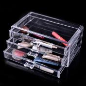 Ohuhu Makeup Cosmetics Organiser Acrylic 3 Drawers Storage Box / Acrylic Makeup Organiser, 24cm X 14cm X 11cm