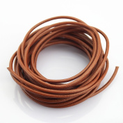 LolliBeads (TM) 3 mm Genuine Round Leather Cord Braiding String Light Brown 5 Metres