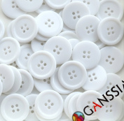 "GANSSIA 0.98"" (25mm) Candy Colour Button White Coloured Pack of 50"