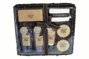 Tuscan Hills French Lavender scent 8 PC Bath & Body Gift Set with Wicker Vanity Tray