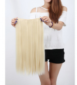 "Fashion Hairpiece Long Straight Bleach Blonde 23""(58cm) 3/4 Full Head One Piece 5clips Clip in Hair Extensions Long Poplar Style for Xmas Gifts"