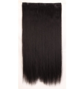 "Fashion Hairpiece Long Straight Natural Black 23""(58cm) 3/4 Full Head One Piece 5clips Clip in Hair Extensions Long Poplar Style for Xmas Gifts"