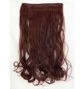 "Fashion Hairpiece Curly Dark Auburn 17""(43cm) 3/4 Full Head One Piece 5clips Clip in Hair Extensions Long Poplar Style for Xmas Gifts"